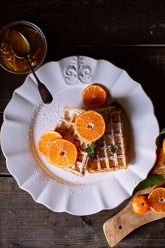 Waffles with orange jam