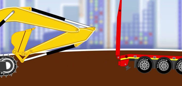Clippers. Excavator. Tipper. Developing cartoon.