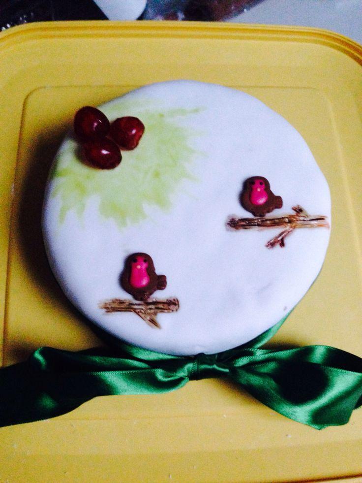 Christmas cake with robins