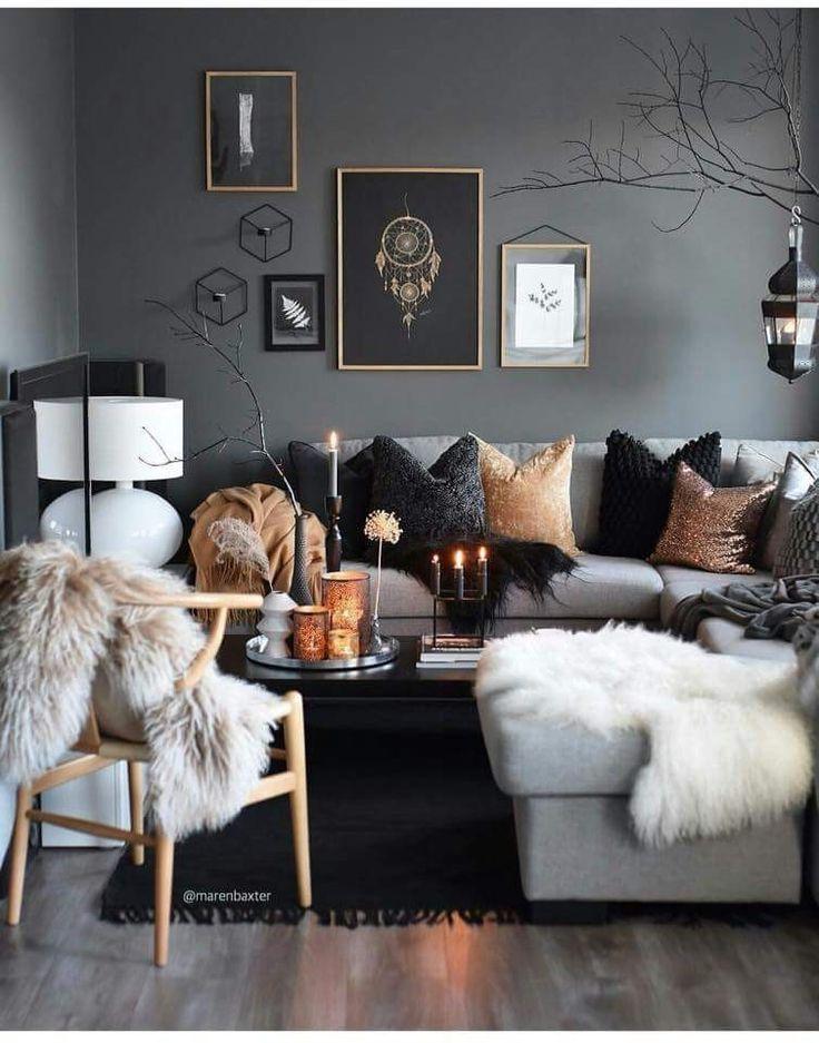 Dunkle aber beruhigende Wohnzimmerideen. Grau. Mö…