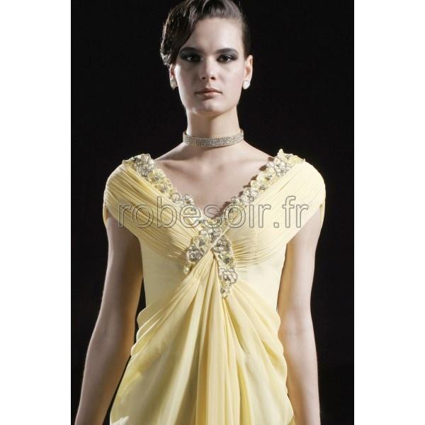 Robe de soiree jaune satin