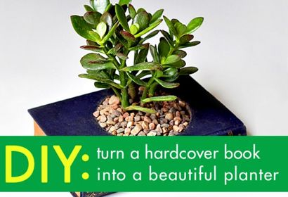 BOOK PLANTER DIY Can't you just imagine a book planter like this one selling at Anthropologie for ? It may look pricey, but you can save a ton of cash by putting in some elbow grease and following this tutorial to make it yourself.  See the DIY tutorial here