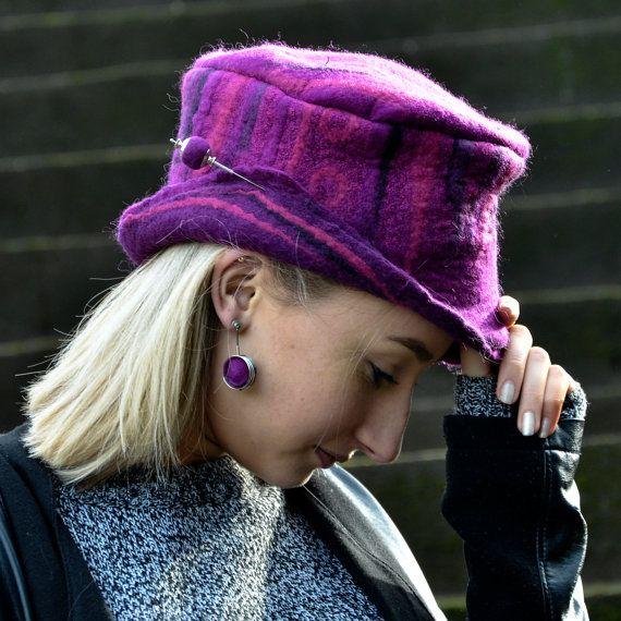 Purple Felt Hat Handmade Felt hats Unique Felt Hats Felted hats millinery hat felt Hat warm hat wool hat