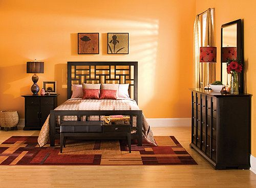 this 4pc queen bedroom set seamlessly blends the best elements of asian
