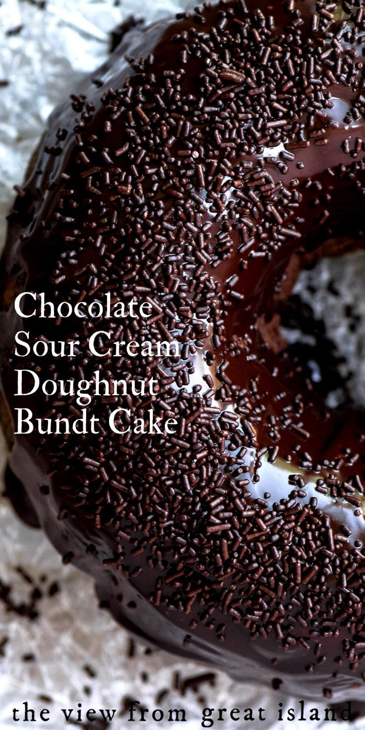 Chocolate Sour Cream Doughnut Bundt Cake In 2020 Bundt Cake Bundt Cakes Recipes Sour Cream Donut