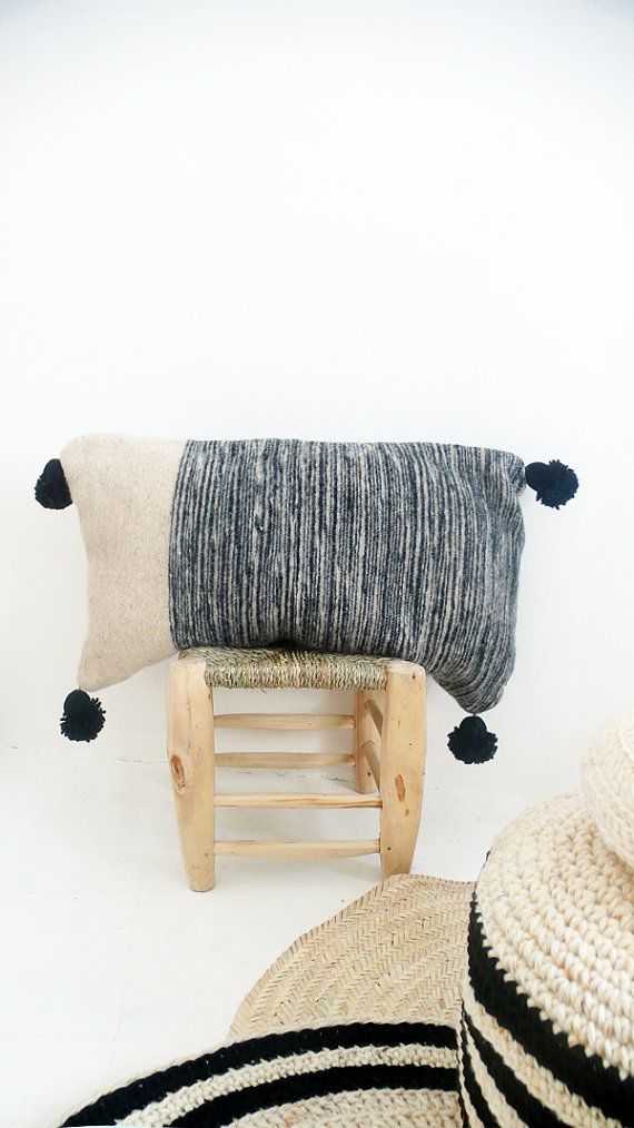 Moroccan POM POM Wool Pillow Cover  Black Bands por lacasadecoto