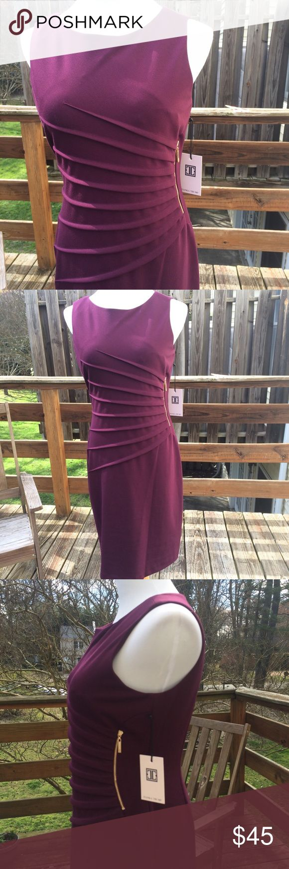 NWT Ivanka Trump Sheath Dress Very nice sleeveless Sheath dress from Ivanka Trump. No matter how you feel about politics, this is a pretty spring dress :) Nice shade of purple with rouched torso for a very flattering look. Gold zipper detailing on one side. Material is a little stretchy. Dress is midi-length Ivanka Trump Dresses Midi