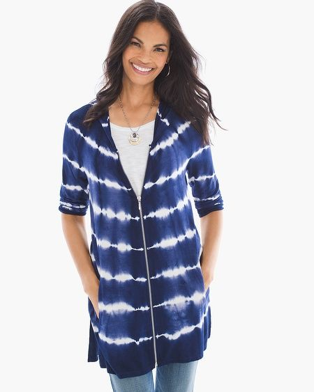 """This calls for a relaxed weekend. (Shopping and movie marathon, anyone?) This jacket's sporty hood, comfy, zippered styling and tie-dye design is laidback in the chicest of ways.    Zipper closure.  Hood detail.  3/4-sleeves.  Length: 30.5"""".  Viscose, spandex.  Machine wash. Imported."""