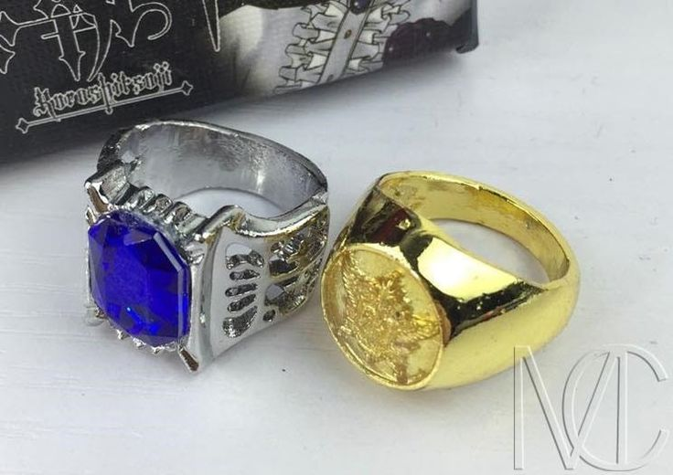 Adaptations from the anime/manga series Black Butler, this set of 2 Ciel Phantomhive Rings are made of durable Zinc Alloy metal and comes in it's original retail box. Perfect as a gift for Black Butle