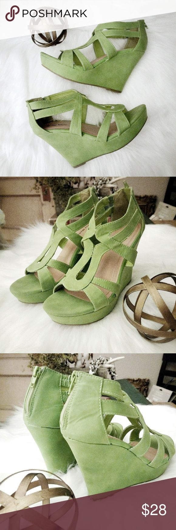 """Top Moda Moss Green Suede Wedges Like new moss green strappy suede wedge heels with zippers on the back heel. Size 10M, heel height 4.5"""". Top Moda Shoes Wedges"""