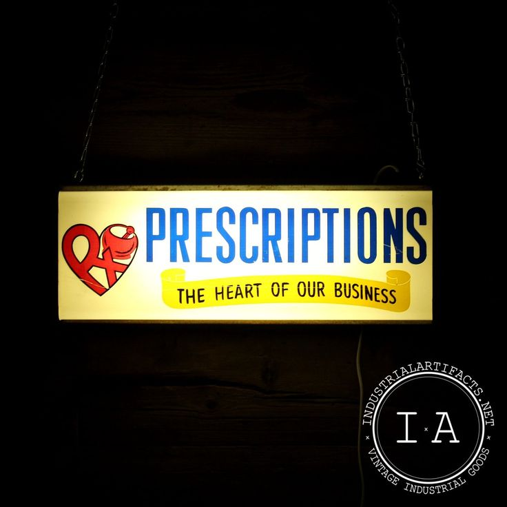 Vintage Industrial Lighted Prescription Apothecary Pharmacy Hanging Wall Sign