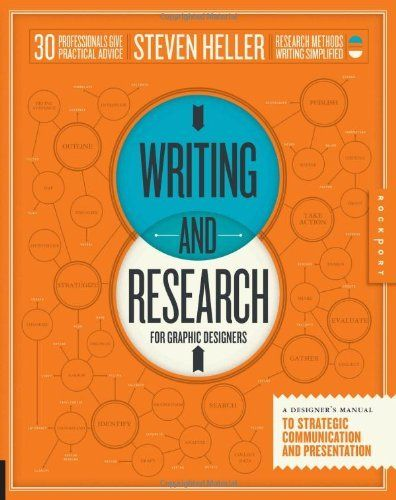 Writing and Research for Graphic Designers: A Designer's Manual to Strategic Communication and Presentation by Steven Heller, http://www.amazon.com/dp/1592538045/ref=cm_sw_r_pi_dp_xe9dsb14PVTVW