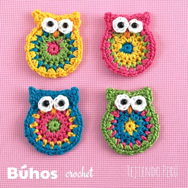 Crochet: Búhos pequeñitos de colores!! Video tutorial del paso a paso ༺✿ƬⱤღ  https://www.pinterest.com/teretegui/✿༻