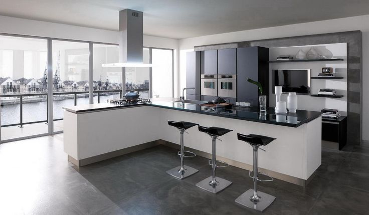 gorgeous modern open kitchen design with black granite countertop and bar stools