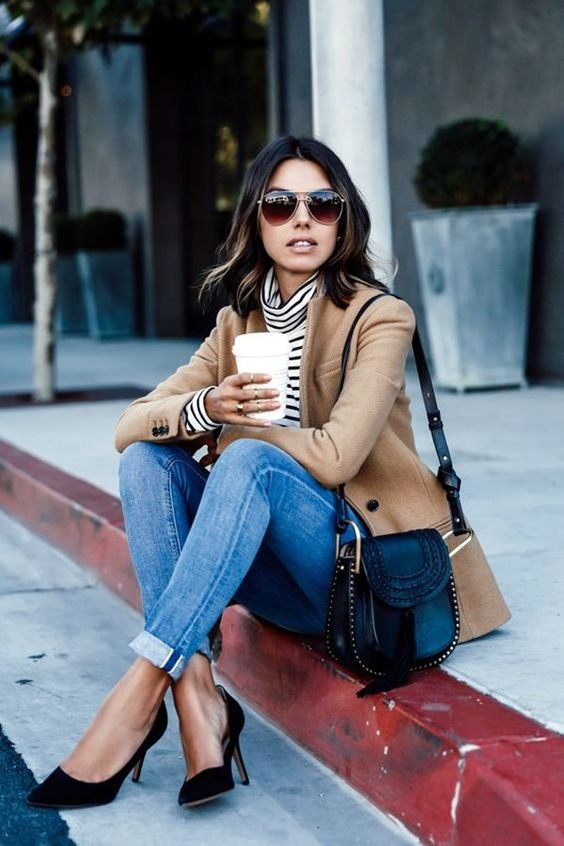 Camel blazer, white & black striped turtle neck, rolled jeans and black pumps. Fashion for Fall/Winter 2016 - stitch fix