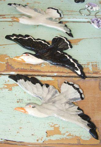 Mayfire ceramic seagulls in flight. Available from birdofprey.co.nz