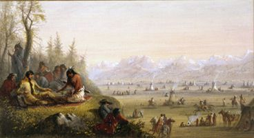 Jacob Miller painting of Indian encampment in Wind River Mountains, 1830s