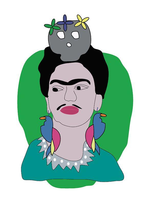 Frida Kahlo Print Illustration. A4 Matte Paper. by SaraHepe