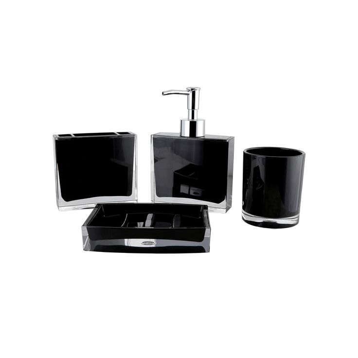 Contemporary 4-piece Bathroom Accessories Set, Black
