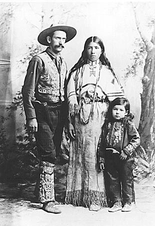 Broncho Bill, cowboy interpreter of the Sioux, and his family, Buffalo Bill's Wild West, c. 1890.