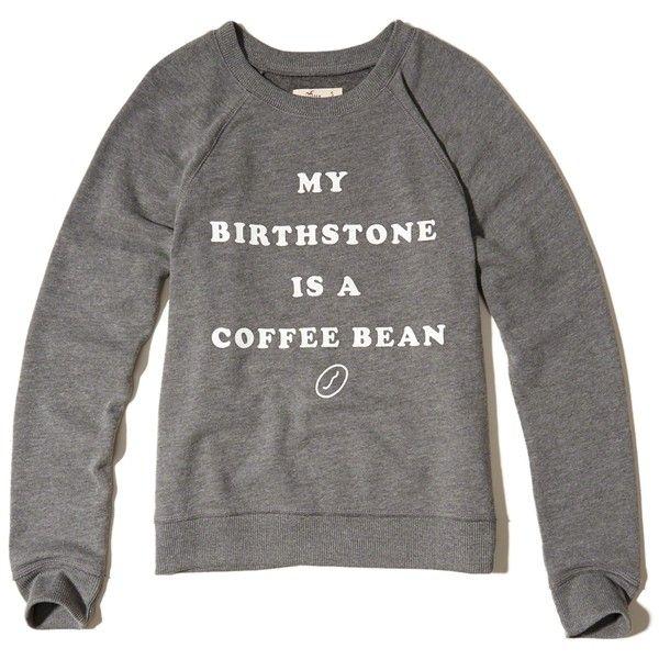 Hollister Printed Graphic Crew Sweatshirt ($30) ❤ liked on Polyvore featuring tops, hoodies, sweatshirts, grey, graphic sweatshirts, grey crew neck sweatshirt, fleece tops, fleece crewneck sweatshirt and fleece sweatshirt