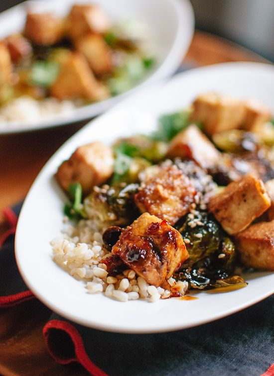 Roasted Brussels Sprouts and Crispy Baked Tofu with Sesame Glaze (sub maple syrup for honey)