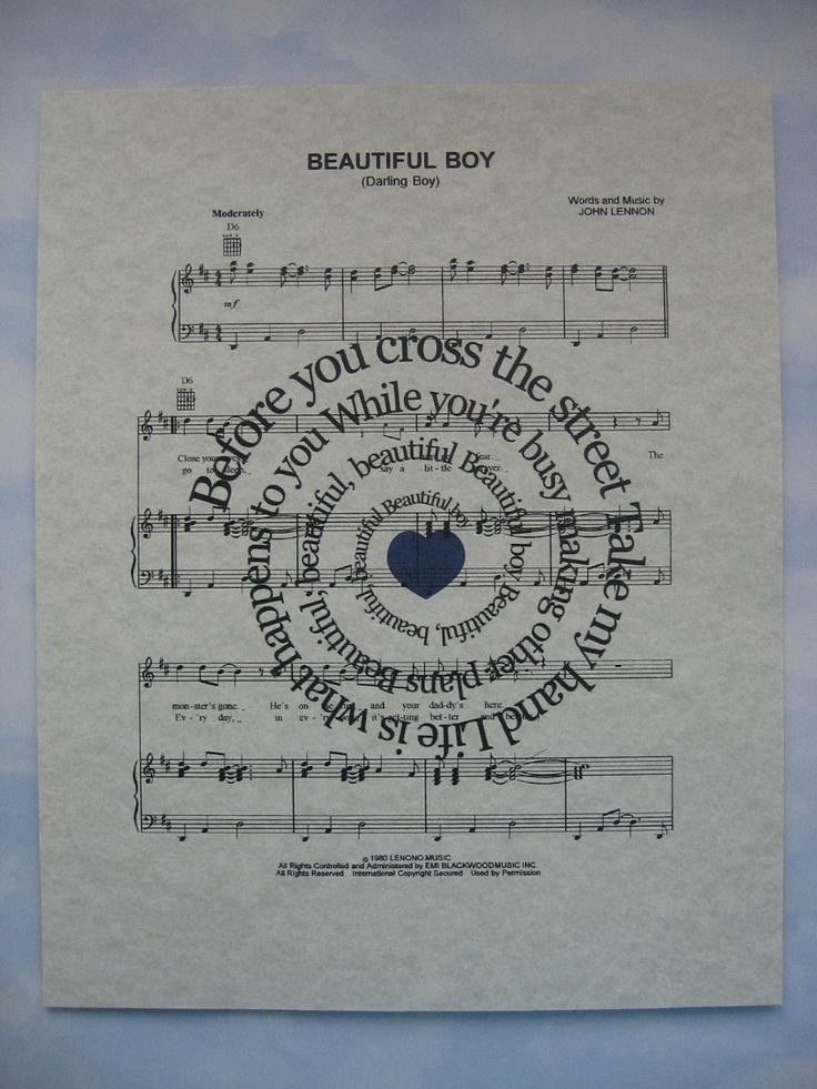 Beautiful Boy Print - John Lennon - Spiral Song Lyric Sheet Music Art Print. $15.00, via Etsy.