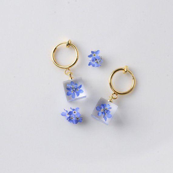 dried flower jewelry Forget me not earrings pressed flower earrings