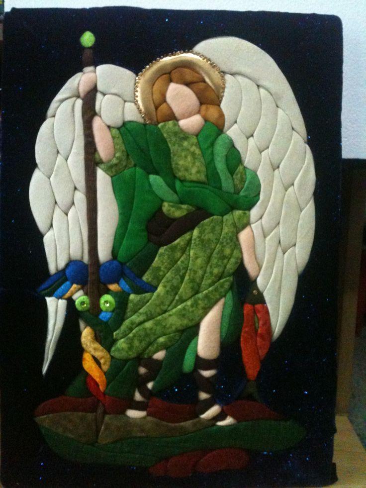 patchwork sin aguja- inspirado desde un vitral - arcangel rafael