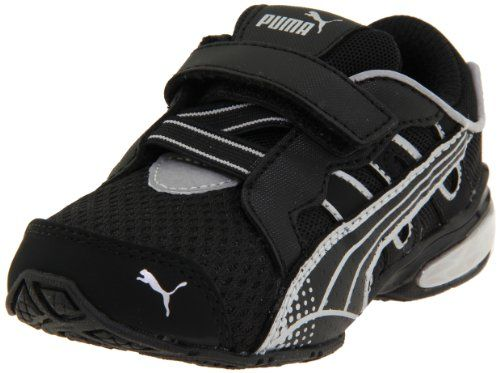 PUMA Voltaic 3 V Kids Running Shoe (Toddler/Little Kid/Big Kid),Black/Black/PUMA Silver,10 M US Toddler. Synthetic Leather/Textile. Rubber outsole. Rubber sole. Origin: China. Kinder-fit sock liner. Item Dimensions: width: 100, height: 100 hundredths-inches. Imported. Colorful running shoe featuring breathable mesh upper with synthetic overlays and hook-and-loop Z-strap closure.