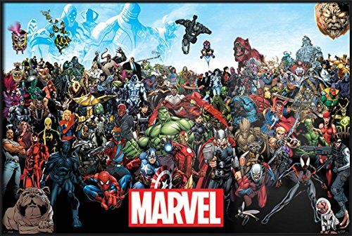 "Marvel Comics Universe - Framed Comic Poster / Print (All Marvel Characters) (Size: 36"" x 24"")"