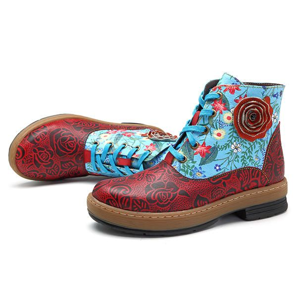 SOCOFY Women Genuine Leather Lace Up Floral Ankle Short Boots - US$65.98