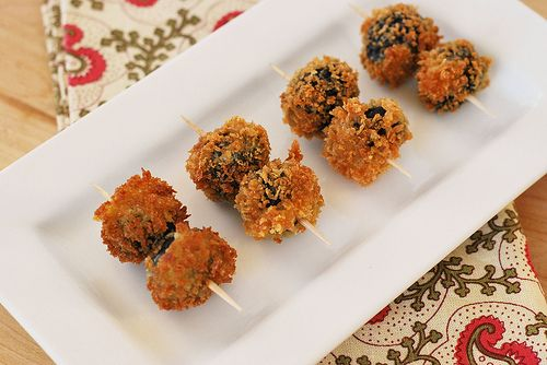 roquefort-stuffed fried olives #snacks #recipes #cheese #olives #fried