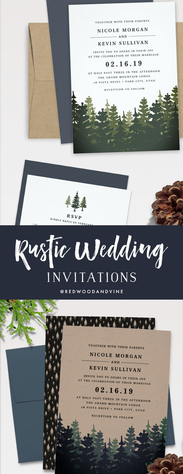 elegant rustic wedding invitations from redwood & vine design co. // build your dream wedding suite with dozens of matching items! #kraftweddinginvitations #rusticweddings #pinetrees #forest