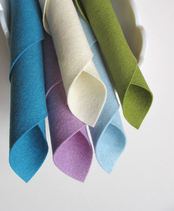 Merino Wool Felt Fabric Set  'Cool Watercolors' Color Story by FeltOnTheFly, $15.00