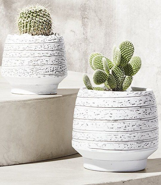 revolve around. Textured ribbons wrap round this footed terracotta planter in white. Float this handmade form on a coffee/dining/side table so it can be seen from all angles. CB2 exclusive.