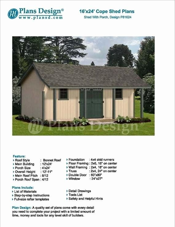 16 X 24 House Plans Fresh 16 X 24 Guest House Garden Storage Shed With Porch Plans Design P In 2020 Shed With Porch Garden Storage Shed Porch Plans