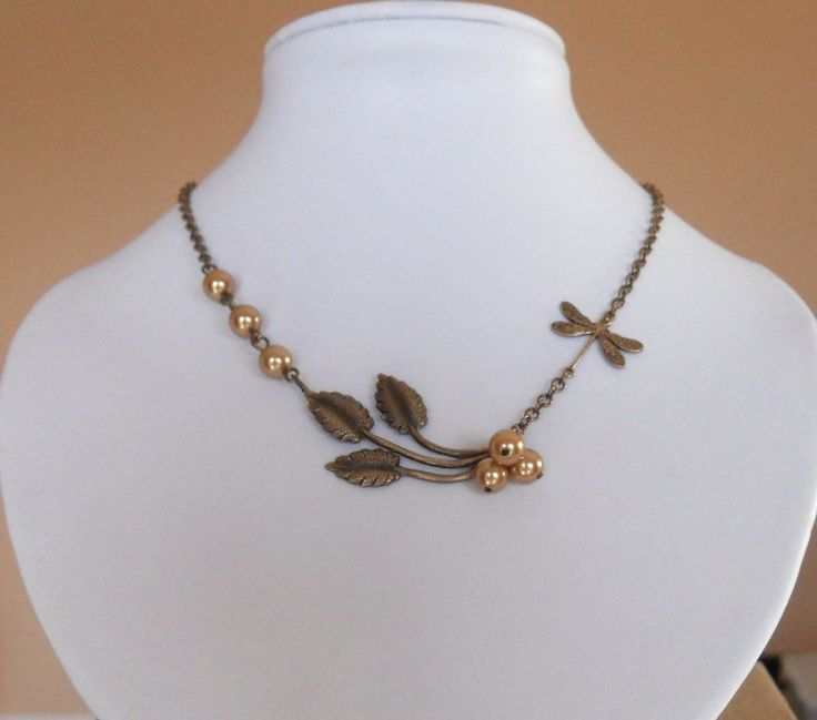 Sunny Day Statement Necklace, Lariat Necklace, Statement, Wedding Jewelry, Choker, Dragonfly, Branch, Gold Pearls, Gift, Free Shipping. $23.00, via Etsy.