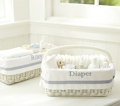Great for carrying to any nearby changing space - #urbanbaby - Gray Harper Nursery Storage #PotteryBarnKids