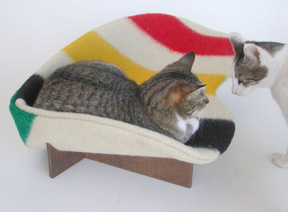 Retro modern pet bed in wool stripe Hudson's Bay point blanket, red green yellow black