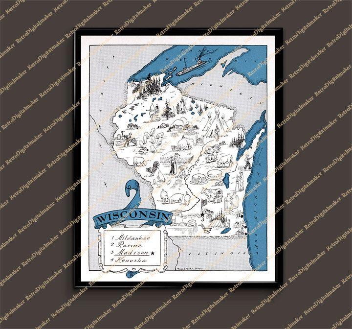 Wisconsin WI United States Whimsical map by