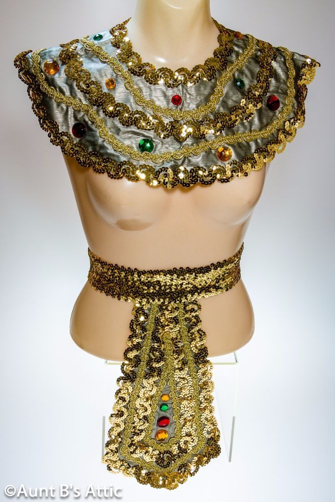 Egyptian Collar & Belt Set Dlx Gd Vinyl & Sequin Jeweled Stretch Belt & Collar | Clothing, Shoes & Accessories, Costumes, Reenactment, Theater, Accessories | eBay!