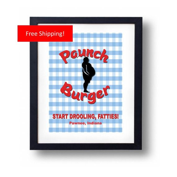 Paunch Burger Parks and Recreation Sign Ron Swanson and Andy Dwyer by ManCaveStore $8.50