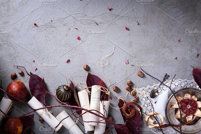 Romantic breakfast, red oranges,nuts by Iuliia Leonova on @creativemarket
