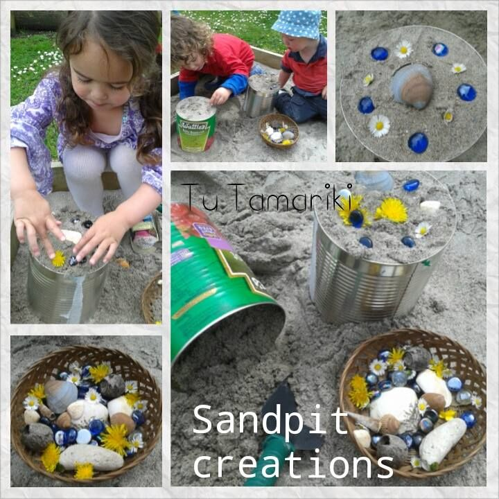"Sandpit creations - a child-led activity that began with digging up burried treasures in the sandpit - from Tu Tamariki - Play Based Learning ("",)"