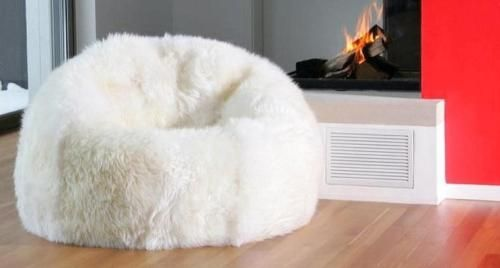 New Shaggy Lush White Soft Luxury Faux Fur Beanbag Bean Bag Lounge
