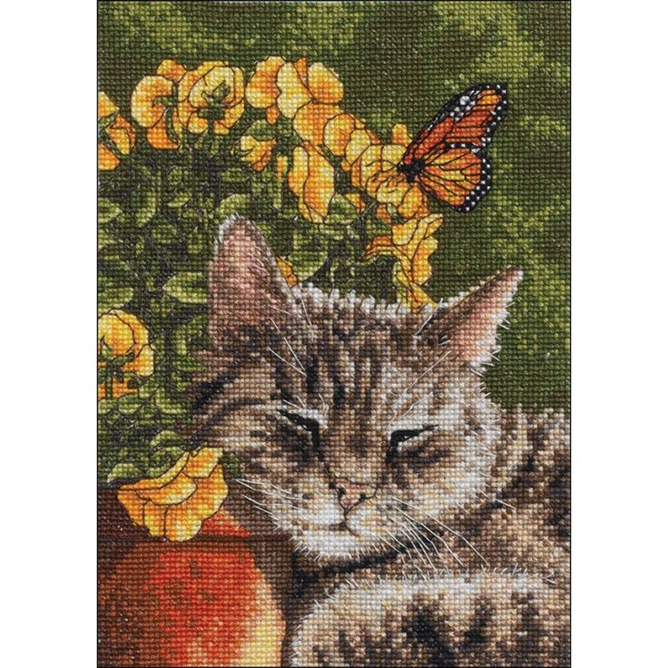 """Afternoon Nap Mini Counted Cross Stitch Kit - 14 count 5"""" x 7"""""""