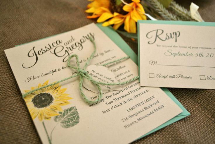 Kraft Mint and yellow Sunflower Wedding Invitation