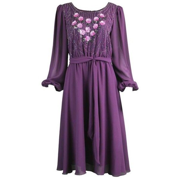 Preowned Vintage Beaded Purple Chiffon Dress By Jack Bryan, 1970s ($268) ❤ liked on Polyvore featuring dresses, cocktail dresses, purple, floral dresses, beaded cocktail dress, vintage dresses, purple sequin dresses and purple cocktail dresses