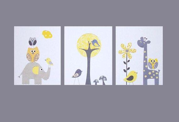 Nursery Art, Baby Room, Kids Wall Art, Gray and Yellow, Nursery Wall Art, Tree, Owl, Giraffe, Georgias Room, Set of 3, 8x10 Prints
